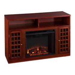 Upton Home - Upton Home Brannick Mahogany Media Console Fireplace - This mahogany media console electric fireplace is a good source of supplement heating without increased utility bills. The fireplace is framed in by a cabinet with adjustable shelves on each side and an open shelf on top.