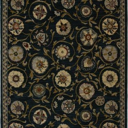 "Karastan - Karastan Crossroads 38260-15113 3'3"" x 5'6"" Rosedale Indigo Rug - Shades of classic red, warm honey, indigo and black are featured in this Studio by Karastan(r) collection. Accents of dove gray, terra cotta, sage and ivory highlight the tribal Suzani's, classic Persian panels, timeless Sarouk's, transitional florals and modern ikats that make up this collection. Made of New Zealand woven wool, the Crossroads collection offers a wide variety of decorating possibilities in plush, durable constructions that will meet the demands of today's active lifestyles."