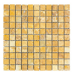 STONE TILE US - Stonetileus 10 pieces (10 Sq.ft) of Mosaic Gold 1x1 Tumbled - STONE TILE US - Mosaic Tile - Gold 1x1 Tumbled Coverage: 1 Sq.ft size: 12x12 - 1 Sq.ft/Sheet Piece per Sheet : 212 pc(s) Tile size: 12x12 Tile thickness: 3/8 Stone tiles have natural variations therefore color may vary between tiles. This tile contains mixture of gold - light brown - dark brown - yellow - and color movement expectation of low variation, The beauty of this natural stone Mosaic comes with the convenience of high quality and easy installation advantage. This tile has Tumbled surface, and this makes them ideal for floor, walls, kitchen, bathroom, Sheets are curved on all four sides, allowing them to fit together to produce a seamless surface area. Recommended use: Indoor - Outdoor - High traffic - Low traffic - Recommended areas: Gold 1x1 Tumbled tile ideal for floor, walls, kitchen, bathroom, Free shipping.. Set of 10 pieces, Covers 10 sq.ft.
