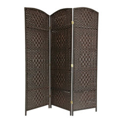 Oriental Unlimted - 6 ft. Tall Diamond Weave Fiber Room Divider i - Choose No. of Panels: 3 Panels (58.5 in. Total Width)19.5 in. Wide panels with attractive diamond weave medallions. Well built, lightweight wood frames with spun plant fiber cord. Distinctive rattan style folding screen. The spun plant fiber cord is able to hold dye beautifully, making rich, warm, beautifully colored decorative screens. Design allows some light and air to pass though the panels and does not shut light out completely. 3 panel shown. 19.5 in. W x 0.75 in. D x 71 in. H (per panel)Our new Diamond weave room partition is a practical accessory and beautiful decorative accent. The arch top panels are wider than most, almost 20 inches. Tough, durable spun plant fiber cord is interwoven with quarter inch thick wooden dowels. The distinctive diamond shape medallions are repeated 5 per panel, creating a stylish rattan look decorative screen as well as a slightly larger floor screen room divider.