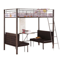 Adarn Inc - Youth Twin Size Metal Bunk Loft Bed w/ Adjustable Seat Desk and Attached Ladder - Features: