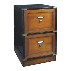 "Inviting Home - Filing Cabinet - Two-drawer wood filing cabinet; 19-3/4"" x 15-3/4"" x 26-3/4""H; Two-drawer wood filing cabinet in antique French and black finish; hidden wheels; brass bound. Filing cabinets are essentially boring entities. Choice-wise there's not much out there. Grandeur and elegance is not associated with the domain of organization. Stashing your files in a Hermes backpack or a vintage Louis Vuitton trunk while certainly fancy is not overly accessible. Compare these with our two-drawer filing cabinet: Ready to travel. Rolls where needed at the push of a finger. Laden with written treasures documents papers of content... Brass bound wood this filing cabinet is made to be handed down through generations."
