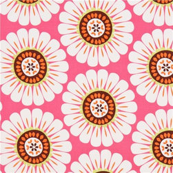 pink flower fabric by Michael Miller daisy - flower fabric with big white daisies from the USA