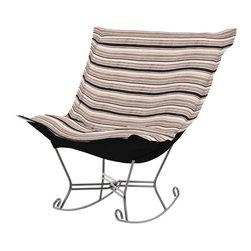 Howard Elliott - Ribbon Scroll Puff Rocker - Titanium Frame - Nothing less than the most comfortable chair on the planet! The soft luxury and style of our Puff Collection is a great addition to any room. All Puff cushions are constructed with luxurious foam for optimal comfort. Like most HEC items, Puff cushions are removable for easy cleaning, and are interchangeable between frames.