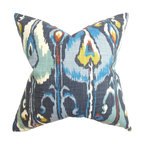 """The Pillow Collection - Gudrun Ikat Pillow Blue - Cool and eye popping, this throw pillow brings a fun twist to your living space. The rich texture and interesting ikat pattern makes this square pillow a lovely addition to your living room, bedroom or lounge area. A blend of striking hues in blue, teal, yellow, white and orange are featured in this inviting 18"""" pillow. Made of 100% soft and durable cotton material. Hidden zipper closure for easy cover removal.  Knife edge finish on all four sides.  Reversible pillow with the same fabric on the back side.  Spot cleaning suggested."""