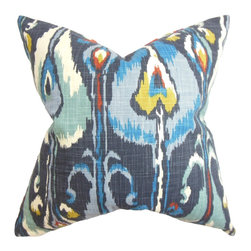 "The Pillow Collection - Gudrun Ikat Pillow Blue 18"" x 18"" - Cool and eye popping, this throw pillow brings a fun twist to your living space. The rich texture and interesting ikat pattern makes this square pillow a lovely addition to your living room, bedroom or lounge area. A blend of striking hues in blue, teal, yellow, white and orange are featured in this inviting 18"" pillow. Made of 100% soft and durable cotton material. Hidden zipper closure for easy cover removal.  Knife edge finish on all four sides.  Reversible pillow with the same fabric on the back side.  Spot cleaning suggested."