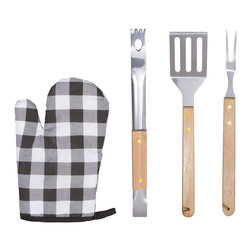 Kitchen Additions - 4-Piece Barbecue Set With Stainless Steel Spatula Fork Tongs And Mitt - Heavy Duty Double-Rivet Stainless Steel Construction For Durability And Long Use.