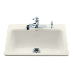 KOHLER - KOHLER K-5832-3-96 Bakersfield Self-Rimming Kitchen Sink - KOHLER K-5832-3-96 Bakersfield Self-Rimming Kitchen Sink with Three-Hole Faucet Drilling in Biscuit