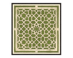 Soicher-Marin - Large Garden Plan B, Green - Giclee Print with a Black Ornate wooden frame with decorative line pattern floated on an off white mat.  Includes glass, eyes and wire. Made in the USA. Wipe down with damp cloth