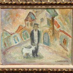 Simon Karczmar, Man and Goat, Oil Painting - Artist:  Simon Karczmar, Polish (1903 - 1982)