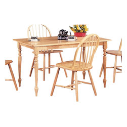 Coaster - Coaster Damen Rectangle Leg Dining Table in Warm Natural Wood Finish - Coaster - Dining Tables - 4347 -