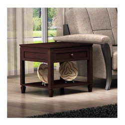 Furnitech - Traditional End Table - Features: -One drawer.-Solid brass pewter hardware.-Use damp cloth and mild agent for cleaning.-Brazilian cherry wood construction.-Wenge finish.-Traditional collection.-Collection: Traditional.-Distressed: No.-Powder Coated Finish: No.-Gloss Finish: No.-Base Material: MDF/Hardwood Veneer.-Top Material: MDF/Hardwood Veneer.-Inlay Material: None.-Number of Items Included: 1.-Hardware Material: Coated Steel Screws.-Nesting Tables: No.-Non-Toxic: No.-UV Resistant: Yes.-Scratch Resistant: Yes.-Water Resistant or Waterproof: Coating Repells Water.-Stain Resistant: Yes.-Lift Top: No.-Storage Under Table Top: No.-Drop Leaf Top: No.-Magazine Rack: No.-Built In Clock: No.-Drawers Included: Yes -Number of Drawers: 1.-Drawer Glide Extension: Full Extension.-Ball Bearing Glides: Yes.-Soft Close Drawer Glides: No.-Safety Stop : No.-Joinery Type: Scew and Wood Block..-Hardware Finish: Coated Screws.-Exterior Shelves: Yes -Number of Exterior Shelves: 1.-Adjustable Exterior Shelves: No..-Cabinets Included: No.-Glass Component: No.-Legs Included: Yes -Number of Legs: 4.-Leg Type: Straight with fluted detail..-Casters: No.-Lighted: No.-Stackable: No.-Reclaimed Wood: No.-Adjustable Height: No.-Outdoor Use: No.-Weight Capacity: 300.-Swatch Available: Yes.-Commercial Use: Yes.-Recycled Content: No.-Product Care: No.-Built In Outlets: No.-Powered: No.Specifications: -FSC Certified: No.-EPP Compliant: No.-CARB Compliant: No.-ISTA 3A Certified: No.-ISTA 1A Certified: No.-General Conformity Certificate: No.-Green Guard Certified: No.-ISO 9000 Certified: No.-ISO 14000 Certified: No.-UL Listed: No.Dimensions: -Overall Height - Top to Bottom: 28.-Overall Width - Side to Side: 27.-Overall Depth - Front to Back: 23.5.-Table Top Thickness: 0.5.-Table Top Width - Side to Side: 27.-Drawer: -Drawer Interior Height - Top to Bottom: 8.-Drawer Interior Width - Side to Side: 24.-Drawer Interior Depth - Front to Back: 22..-Overall Product Weight: 105.-Shelving: -Shelf 