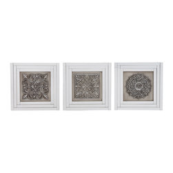 ecWorld - Morocann Style Handcrafted Designer Mirrored Wall Decor Panel - Set of 3 - Bring home this fascinating set of three floral mirrored wall decor and revamp your interiors. This wall decor features beautiful floral patterns on each plaque. The mirrored borders and detailed designs of this wood wall decor makes it a stand out piece.