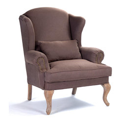 Kathy Kuo Home - Zacharie French Country Nail Head Brown Wing Chair - A classic silhouette with understated features making way for a rich aubergine brown fabric catch the eye and interest. Its slender arms are gently rolled with nail head embellishments while the tightly upholstered back and seat in a textured linen weave are perfectly accented by neutral reclaimed oak legs. A back accent pillow invites for a comfortable seat.