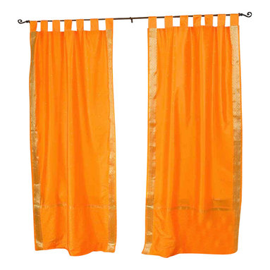 Indian Selections - Pair of Pumpkin Tab Top Sheer Sari Curtains, 43 X 84 In. - Size of each curtain: 43 Inches wide X 84 Inches drop