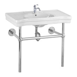 Renovators Supply - Console Sinks China Belle Epoque Deluxe Chrome Bistro Single Hole - Console Sinks: BELLE EPOQUE.  Captures the elegance of the Belle Epoque. Spacious countertop, self-draining soap dishes, protective splashguard rim. Chrome-plated brass frame and integral towel bar. Grade A vitreous china construction with a SCRATCH & STAIN resistant  finish. Accepts a single hole faucet sold separately. Measures 33 1/4 in. H x 35 1/2 in. W front x 19 3/4 in. proj.