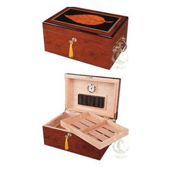 Quality Importers - Deauville Cigar Humidor - The Deauville Cigar Humidor with high-gloss maple wood finish and tobacco leaf inlay is sure to appeal to all cigar aficionados. opens and closes smoothly on hidden quadrant hinges. Features gold plated lock and key with tassel engrave able brass nameplate plus: holds up to 150 cigars; large rectangle humidifier; glass hygrometer with brass frame; sure seal technology insures proper lid seal on closure; Spanish cedar tray with divider; (2) dividers at bottom; lined with premium kiln dried Spanish cedar; gold plated lock and key with tassel carry handles and hidden quadrant hinges; engrave able brass nameplate; scratch resistant felt lined bottom.