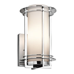 Kichler Lighting - Kichler Lighting Pacific Edge Modern / Contemporary Outdoor Wall Sconce X-613SSP - Horizontal rings are supported by uprights surrounding a cylinder of opal glass that is cased in satin etched glass in the Pacific Edge Modern / Contemporary Outdoor Wall Sconce from Kichler lighting. The cast aluminum casing is finished in a polished stainless steel that gives this contemporary outdoor wall light fixture a modern shine.