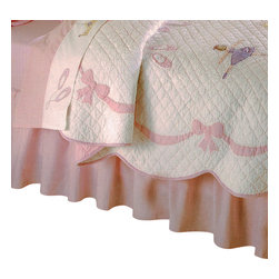 Pem America - Ballet Lessons Full Bed Skirt - Pretty dancing ballerinas for your little dance princess.  Ballet Lessons is the perfect 100% cotton quilt  for your little girl with applique ballerinas with an applique ribbon shaped border on a solid white machine stitched face.  This girls quilt features scalloped edges and is a classic, timeless pattern.  You can complete any girls bedroom with the matching accessories to this pattern. Full bed skirt fits mattresses 54x75 inches with 14 inch drop in solid pink. 100% microfiber polyester drop. Machine washable.