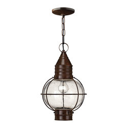 Hinkley Lighting - CapeCod Hanger Outdoor - Cape Cod's classic onion lantern design conveys classic New England style. The solid brass construction and clear seedy glass add vintage appeal.