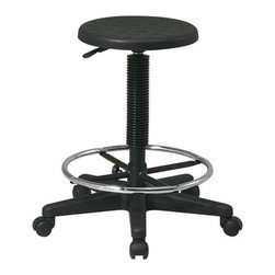 Office Star - Work Smart KH Series KH507 Stool with Adjustable Footrest - Black Self-Skinned - KH507 stool w/ adjustable footrest - black self-skinned urethane belongs to kh series collection by work smart stool with adjustable footrest.