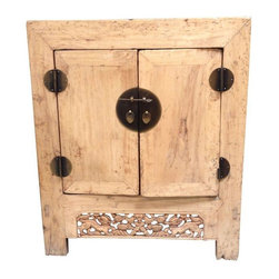 Pre-owned Asian Inspired Wooden Carved Chest - This Asian inspired cabinet has a rustic feel.  This wooden piece features double doors. Use as a side table, chest or storage unit. Perfect for any area of the house!  Primitive carved detail takes this piece to the next level.