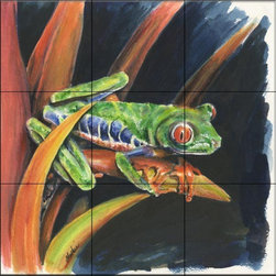 The Tile Mural Store (USA) - Tile Mural - Costa Rican Leaping Frog  - Kitchen Backsplash Ideas - This beautiful artwork by Charlsie Kelly has been digitally reproduced for tiles and depicts a colorful frog.    This tile mural with frogs would be perfect as a part of your kitchen backsplash tile project or your tub and shower surround bathroom tile project. Images of frogs on tile make an impressive kitchen backsplash idea and are great to use in the bathroom too for your shower tile project.