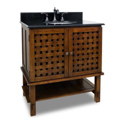"""Basket-weaved Door Vanity Set - This set consists of 31-1/2"""" wide solid wood vanity with basket weaved cabinet doors and preassembled marble top. Large cabinet and bottom shelf provides for ample storage. Vanity comes preassembled with a 2cm black granite top with 4"""" tall backsplash, 15"""" x 12"""" bowl, and cut for 8"""" faucet spread."""
