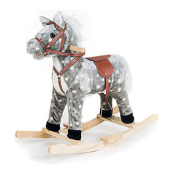 Happy Trails - Rocking Haley Horse - Wood Core. Age: 2-3 years. Color: Gray. 28.5 in. L x 13.5 in. W x 26.5 in. H (7 lbs.)