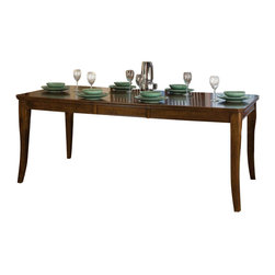 Homelegance - Homelegance Alita Rectangular Extension Dining Table in Warm Cherry - A reflection of your taste for clean design with both traditional and modern flair, the Alita collection perfectly encompasses your style preference. Warm burnishing on warm cherry finished patterned veneers add depth to the casual dining offering. Coordinating server features-door storage and wine bottle rack.