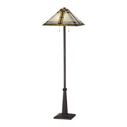 """Meyda - 63""""H Nevada Floor Lamp - This authentic mission craftsman floor lamp features adramatic grid design of green and purple/blue with red.this shade was created with high quality art glass,which was copperfoiled and hand-set by meyda's expertartisans. Vibrant mission colors include a cloudy beigebackground and honey border with accents of red andpurple/blue. The shade is enhanced with a floor basefinished in mahogany bronze. Bulb type: med bulb quantity: 2 bulb wattage: 60"""