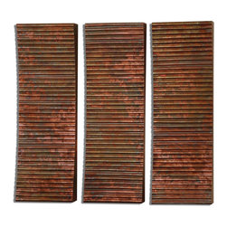 Uttermost - Adara Copper Wall Art, Set of 3 - Set of 3 Adara Copper Wall Art by Uttermost. Wall art featuring ribbed, concaved surface covered in oxidized copper sheeting.