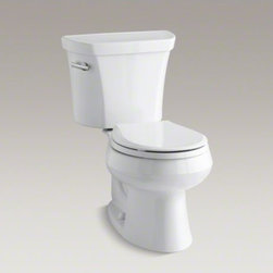 KOHLER - KOHLER Wellworth(R) two-piece round-front 1.6 gpf toilet with Class Five(R) flus - A benchmark of American innovation and engineering, this Wellworth toilet displays graceful curves that fit a wide variety of bathroom styles. A high-powered 1.6-gallon flush delivers strong, reliable performance, while the round-front shape of the bowl p
