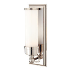 Hudson Valley Lighting - Everett Bath and Vanity - Everett Bath and Vanity features a cast metal framework available in aged brass, old bronze, polished nickel or satin nickel finish options. One 75-watt, 120 volt A19 medium base incandescent bulb is required, but not included. Dimensions: 4.75W x 14.25H x 4.5D.