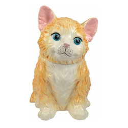 WL - 11 Inch Orange Kitten with Blue Eyes Painted Ceramic Cookie Jar - This gorgeous 11 Inch Orange Kitten with Blue Eyes Painted Ceramic Cookie Jar has the finest details and highest quality you will find anywhere! 11 Inch Orange Kitten with Blue Eyes Painted Ceramic Cookie Jar is truly remarkable.