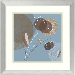 Amanti Art - Christina Mitchell 'Blue Breeze I' Framed Art Print 17 x 17-inch - Blue Breeze I is a playful floral abstract of bold shape and cool colors realized by artist Christina Mitchell.