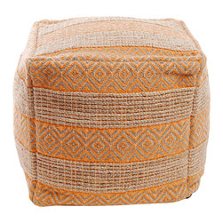 "Best Home Fashion - Diamond and Stripe Pattern Jute Pouf 18""x18""x18"", Orange - These modern cube ottomans (poufs) are great for relaxing or simply as a decor piece in your home. They are perfect for lounging or as a footrest. The covers are zippered and can be easily removed for cleaning."
