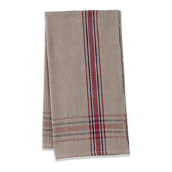 Origin Crafts - Khadhi cotton tea towels (oatmeal/red/navy), set of 2 - Khadhi Cotton Tea Towels (Oatmeal/Red/Navy), Set of 2 The Khadhi collection of refined linens embodies a nostalgic vintage French style. Because Khadi cotton fabric is entirely handmade ? from the spinning to weaving stage, it has a natural, earthy look and feeling. At the same time, it?s understatedly chic and these Khadhi tablecloths, napkins and handkerchiefs are perfect for outdoor dining, complementing a rustic breakfast table or contrasting and softening a modern dining room setting. A Caravan exclusive. Each 100% cotton tea towel is entirely handmade and yarn dyed for a natural texture. Easy care and practical: machine washable, ironing is optional. Dimensions (in):20x30 By Couleur Nature - Couleur Nature is a wholesaler of fine, French-inspired Indian woodblock-printed and vintage linens. Couleur Nature?s linens and home accessories are versatile and can be used for formal or casual table settings year-round, as well as the every day. Their distinct but wide appeal makes them ideal for almost any occasion, decor or personal style. Usually ships in three business days. Our linens are handmade: slight variations are natural and make each piece unique.