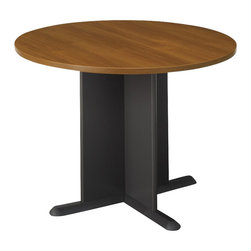 "BBF - Bush Conference Tables 42"" Round Conference Table in Oak and Gray - Bush - Conference Tables - TB67542 - Both durable and attractive this conference table facilitates workplace communication and coordinates with your Series C furniture."