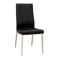Chintaly Imports - High Contour Back Side Chair (Set of 4) - Black PU side chair with shiny stainless steel frame and legs.