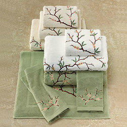 Cherry Blossom Towels - Nothing welcomes spring quite like cherry blossoms. Whether you need a new set of towels or just a few accents, this understated design is sure to brighten any bathroom.