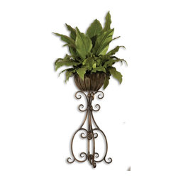 Uttermost - Constance Lael-Linyard Costa del Sol, Potted Greenery X-09006 - Lush and vibrant tropical foliage potted in a scrolled, hand forged iron pedestal in burnished, copper bronze finish with removable planter insert.