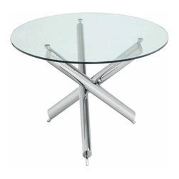 Nuevo Living - Siena Dining Table - This futuristic-looking table is sure to charge up your space with light, dynamic design. Three rods of polished stainless steel cross at the center to form a six-pointed base that's full of energy and open space, while a clear glass top floats upon the upper tips. Find a sleek, modern pendant to hang above it; that glossy base will multiply the brightness in the room.