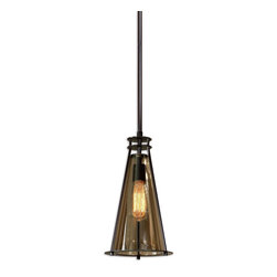 Frisco 1 Light Black Metal Mini Pendant - *Plated Cognac Tinted Glass Accented With Rustic Black Metal Details. 40 Watt Antiqued Style Bulb Included.