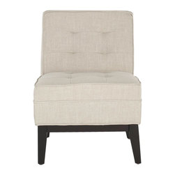 Safavieh - Angel Armless Club Chair - The armless Angel club chair with plush seat cushion and backrest has a simple, casual button tufting. Shown with birch wood legs in espresso finish on casters, this elegant piece is covered in linen-blend fabric in a natural linen colorway. Curl up with a book and relax.
