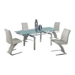 "Global Furniture USA - D88DT + D88DC-BEI Beige Glass & Leatherette Five Piece Dining Set - This table features a rectangular beige glass top with clear accents. The table has folding ends which end the table up to a 87"". The tubular legs are made of silver metal and are finished in beige. The dining chairs come upholstered in a beautiful beige leatherette material. They feature a unique curved design with a chromed base. The dining set includes the dining table and four chairs only."