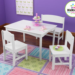 KidKraft - Nantucket Kids 4 Piece Table and Chair Set - Kids can use the large workspace for working on homework, making crafts or even enjoying a tasty meal. The Nantucket Table with Bench and Two Chairs Set is one of KidKraft's most gorgeous furniture sets to date. Kids will love the table and working on one of their favorite pastimes. Features: -Made of wood.-Sturdy construction.-Collection: Nantucket.-Distressed: No.-Seating Included: Yes .Dimensions: -Overall table dimensions: 19.62'' H x 31.75'' W x 23.5'' D.-Overall chair dimensions: 23.25'' H x 11.75'' W x 11.75'' D.-Overall bench dimensions: 23.5'' H x 23.62'' W x 11.62'' D.