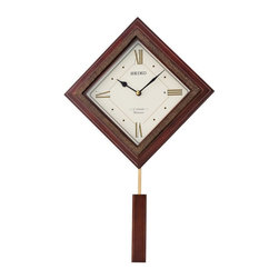 Seiko - Seiko Morgan Wall Clock - 12.5 in. Wide Multicolor - QXM335BLH - Shop for Clocks from Hayneedle.com! The Seiko Morgan Wall Clock 12.5 in. Wide is a modern-style pendulum timepiece that features a diamond-shaped wood frame with a dark brown finish and golden accents. In addition to its eye-catching appearance this precision wall clock features 12 Hi-Fi melodies including classical and Christmas tunes and a Westminster chime that can sound every hour.Additional InformationThe Four Seasons SpringKanonEine Kleine NachtmusikSymphony No. 6 PastoralMorning From Peer GyntLa Traviata Drinking SongDeck the HallsO TannenbaumWe Wish You A Merry ChristmasJoy to the WorldSilent NightJingle BellsWestminster hourly chimeDemonstration buttonLight sensorVolume controlAbout SeikoOver its 120-year history as a maker of fine timepieces the Seiko name has become synonymous with cutting-edge technology ultra-precision constant innovation and refinement. Millions worldwide rely on Seiko wristwatches to keep them on schedule. Two generations have grown up thrilling to Olympic and World Cup competitions where victory or defeat is defined within a fraction of a second all overseen by Seiko timekeepers.Seiko's far-reaching modern empire has its roots in a humble Tokyo clock repair shop opened by Kintaro Hattori in 1881 nearly a century before the introduction of its first landmark wristwatch. Today Seiko continues to offer a wide array of clocks and movements for any home including wall alarm desk mantel musical and heirloom quality decorative pieces. Beautiful on the outside quality components on the inside Seiko products will serve you for years to come.