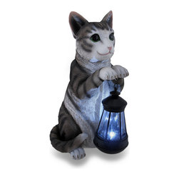 Zeckos - Gray Tiger Striped Helpful Cat Holding Lantern Solar Accent Light Stat - This incredibly adorable sitting cat statue carries a lantern in his paws to help guide your way home. Made of cold cast resin, this gray tiger striped cat measures 13 inches high, 6.5 inches long and 6.5 inches wide (33 X 17 X 17 cm) with a 5.5 inch high, 3 inch diameter (14 X 8 cm) plastic solar lantern. He's wonderfully hand-painted in life-like detail, and looks great in gardens, flowerbeds, on porches or near the entryway. This statue makes an amazing gift any cat lover is sure to admire