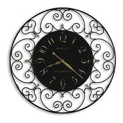 "HOWARD MILLER - Howard Miller Joline 36"" Wrought Iron Wall Clock - This large wall clock features:"